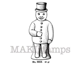 Christmas stamp / Snowman rubber stamp / Unmounted rubber stamp  (130507)