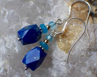 Lapis Lazuli Earrings, Apatite, Blue Topaz, Gemstone Earrings, Two-Tone Gold & Silver Earrings, Multi-Gem Earrings