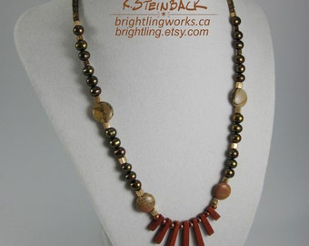 Canyon Calls; Rich Earthen Necklace Made With Natural Stone, Metallic Freshwater Pearls, Gold and Copper Bead Accents; Copper Toggle Clasp