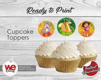 Dora Cupcake Toppers, Printable Dora Cupcake topper, Dora Birthday decoration, instant download, DIY