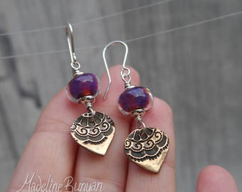 Purple Shimmer lampwork glass and Bronze drop earrings Sterling Silver SRA, Indian, Oxidised, lace
