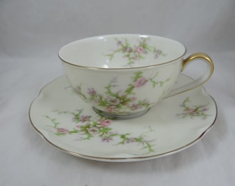 """Thomas Haviland New York Made in USA Teacup and Saucer set """"Rosalinde"""" Pattern - 6 available."""