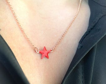 Necklace in 925 silver, rose gold and enamel star