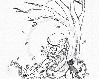 Autumn Fall Girl Reading DIGITAL STAMP Instant Download