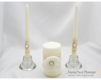 Set of 3 Wedding Unity Candle Set Bridal Ceremony Centerpiece Candles Table Decorations in Ivory