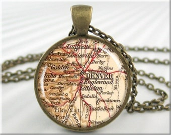 Denver Map Pendant, Denver Colorado Map Necklace, Resin Picture Pendant, Round Bronze, Gift Under 20, Travel Gift 424RB