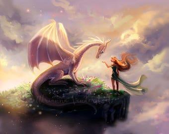 Une petite fille et son Dragon