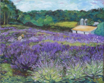 """Set 4 folded 5.5""""x4"""" Notecards/envelopes, Carousel Lavender Farm, Original Oil Painting, Laurie Rubinetti, Bucks County, PA, Barn, gardener"""