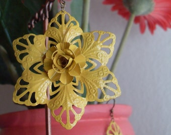 Yellow Flower Earrings, Carmen Vintage Style Filigree Flower Earrings Yellow, Summer fashion Earrings, Birthday gift for her, Thank you gift