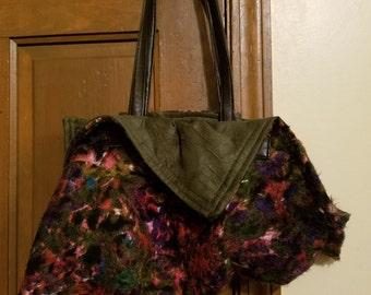 Funky Artsy Pink and Green Multi-colored Handbag