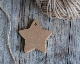 Kraft Paper Star Gift Tags - 60mm diameter - Blank both sides - set of 25