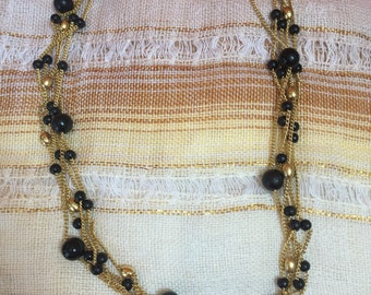 Vintage 1980s Gold and Black Necklace