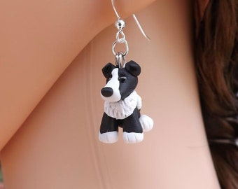 Cute collie dog earrings, made from fimo and on sterling silver ear wires