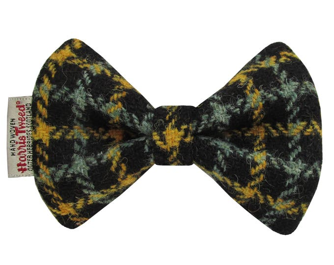 Harris Tweed Mustard & Sage Check Designer Dog Bow Tie