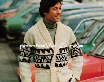 Starsky style Jacket Cardigan Raglan sleeve Vintage Knit Pattern PDF 830 knitting from WonkyZebra