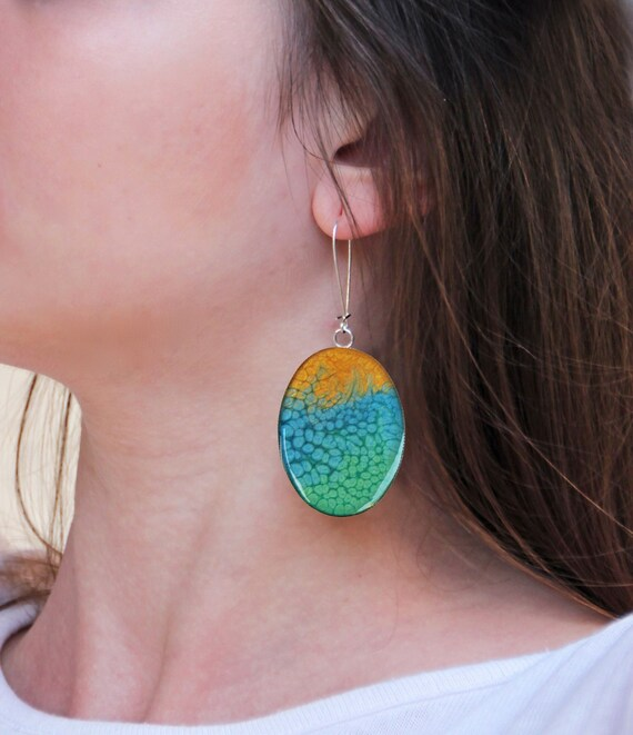 Multicolor earrings, yellow blue green ombré resin earrings, statement earrings, psychedelic coachella jewelry, tie dye boho chic jewelry
