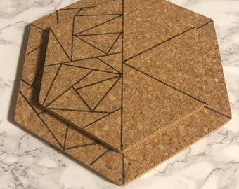 Geometic wood burned trivet cork coasters