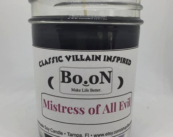 Disney Villain Candle, Mistress of Evil, Maleficent, Villain Insipired Soy Candle,
