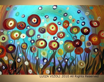 Poppies Original Modern Abstract Fantasy Whimsical Flowers Large Painting by Luiza Vizoli