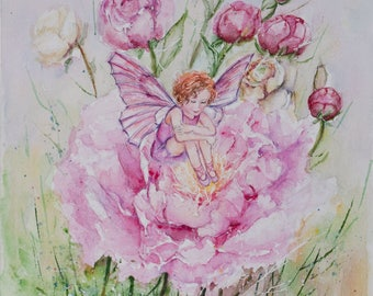 Fairy painting, Kids room decor, christening gift, Baby shower gifts, Flower Fairies, fairy watercolor, Princess Fairies, baby art gift