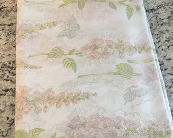 Vintage pastel floral butterfly print twin flat sheet//Repurposed DIY fabric