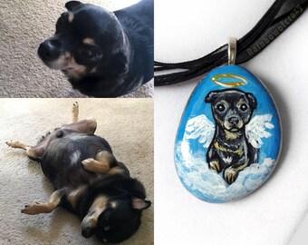 Custom Pet Jewelry, Angel Pet Necklace, Charm Pendant, Personalized Keepsake, Hand Painted Rock, Pet Memorial, Cat Painting, Dog Portrait