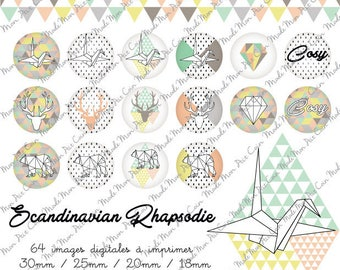 """Digital images for cabochons round """"SCANDINAVIAN RHAPSODY"""" (64 images) to cut and stick on your creations"""