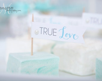 Instant Download - True Love Cupcake Flags - DIY Printable - As seen on Wedding Chicks