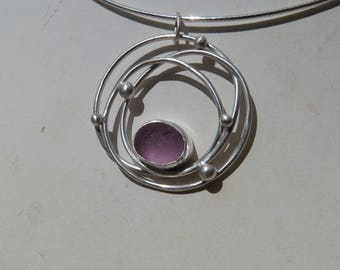 Cosmic Purple Sea Glass Pendant