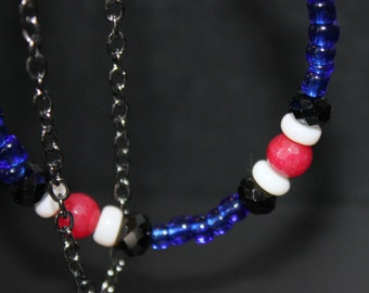 Double Black Chain and Beaded Bracelet Red White Blue
