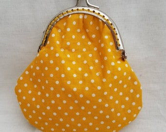 Mustard Yellow Polka Dot Kiss Clasp Purse/Coin Purse/Change Purse/Small Purse