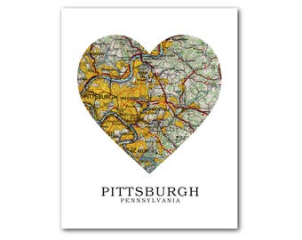 Pittsburgh Map Heart Print, Pittsburgh Map Art, Pittsburgh Map, Heart Map Print, Pennsylvania Map, Pittsburgh, 8 x 10 inches, Unframed