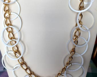 Vintage Gold and White Large Circle Ring Retro Necklace SYLVIA