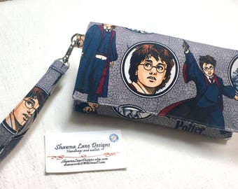 Harry Potter cell phone wallet, wristlet, Pottermania novelty fabric, Women's Wallet with strap, mobile phone accessory, Shawna Lane Designs