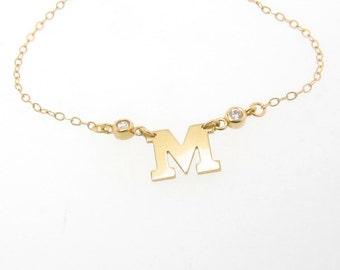 Collier initiale en or avec diamants - or massif 14K votre lettre, Ultra féminin initiales Monogram collier