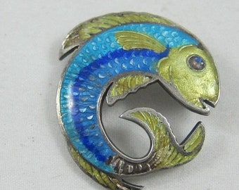 ON SALE Colorful Sterling Silver Enamel Fish Brooch Pin Mexico 925