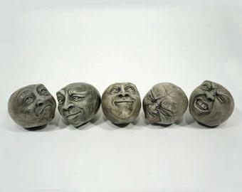 Cement Heads, Cement Art, Group of 5 Package Deal, Cement Sculpture  Fun Gift Idea Unique Home Decor, Eclectic Home Decor Eclectic Sculpture