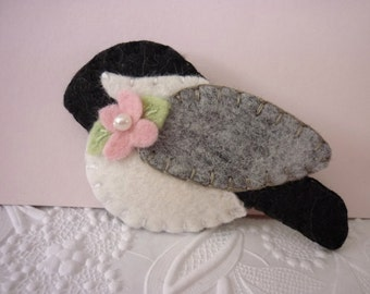 Felt Brooch Chickadee Flower Bird Pin Felted Wool