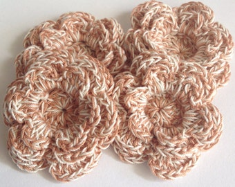 Crochet Layered Flower Appliqués - 4 Copper Brown and Cream