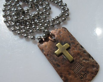 God & Country Cross Dog Tag Necklace in Copper and Brass By Jig Pro Shop LLC