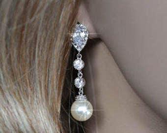 Rhodium, Yellow or Rose Gold Handmade Cubic Zirconia CZ and Swarovski Teardrop Pearl Dangle Bridal Earrings, Bridal, Wedding (Pearl-439)