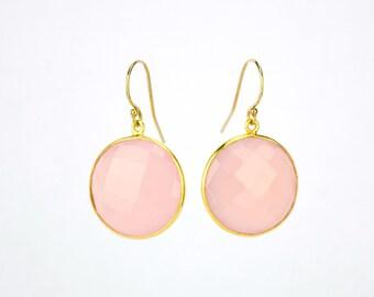 Pink Chalcedony earrings, Gold earrings, Bridesmaid earrings, Gold Framed Stone, Round Stone earrings For Her October birthstone earrings