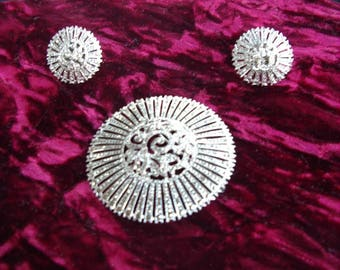 1920's Marcasite/Sterling Silver Set  Round Brooch Earrings and Bracelet  Item #978  Jewelry