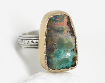 Sterling silver Boulder opal ring with 18k gold. Australian Boulder opal ring. Size 8 1/2. Natural big opal ring. Gift for her. Handmade