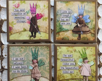 COASTERS! Inspirational Fairy coasters with gold trim