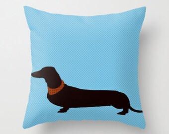 "Dachshund on blue Throw Pillow 18""X18"" - Dachshund pillows, decorative throw pillows, novelty throw pillows, Dachshund Gifts, Dog Gift Ideas"