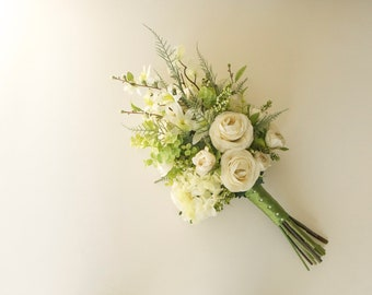 Green and White Forest Wedding Bouquet (Woodland Wedding) Hydrangea Bouquet, Ranunculus Bouquet, Ferns, Orchids, Apple Blossoms