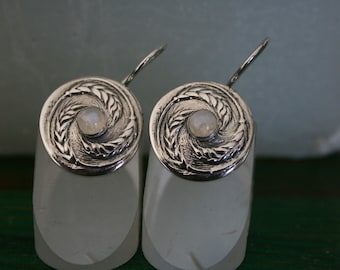 Moonstone Earrings, Wheat Earrings, Silver Earrings, Handmade 925 Silver Wheat Earrings