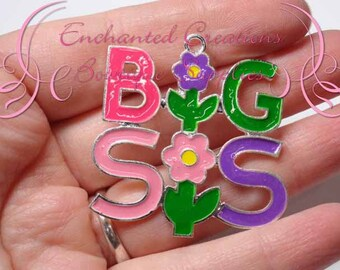 """2"""" Big Sis Charm, Chunky Pendant, Keychain, Bookmark, Zipper Pull, Chunky Jewelry, Purse or Planner Charm, See Lil Sis Charm Too, Sisters"""