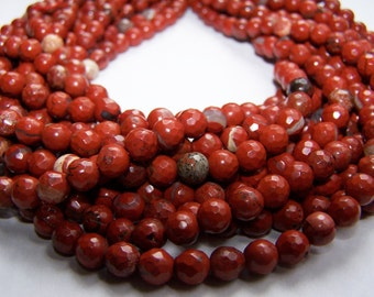 Red Jasper faceted round 6mm beads 15 inch strand